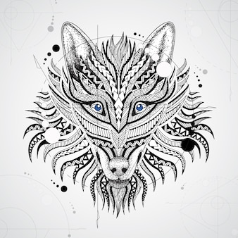 Geometrical wolf design background