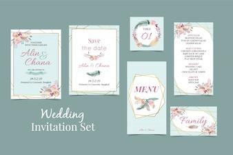 ジオメトリブルーグリーンゴールドの結婚式招待状セット