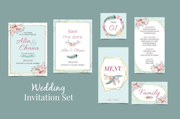 Geometry blue green gold wedding invitation set with feather