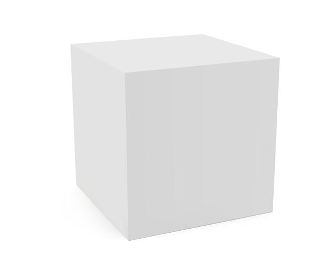 白い背景で隔離のジオメトリキューブ