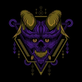 Geometry devil skull vector