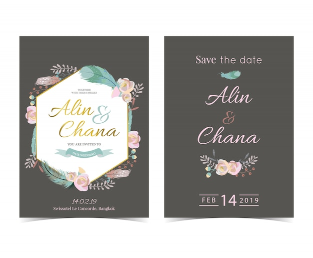 幾何学ゴールドの結婚式の招待カードとフレーム