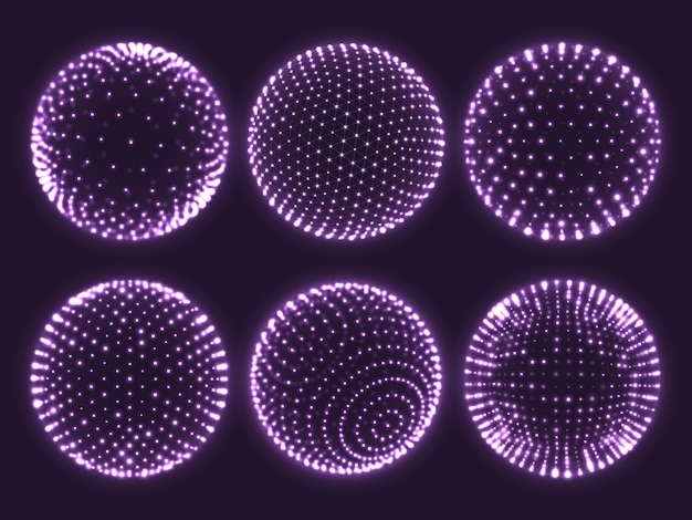 Geometry grid 3d sphere with light dots, atom orb, science chart of particles or virtual reality ball icon.
