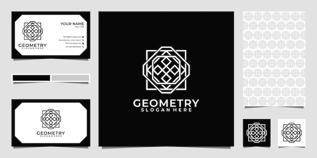 Геометрия линии арт логотип, визитная карточка и узор