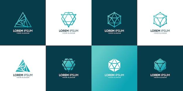 Абстрактный геометрический логотип с креативным стилем premium векторы