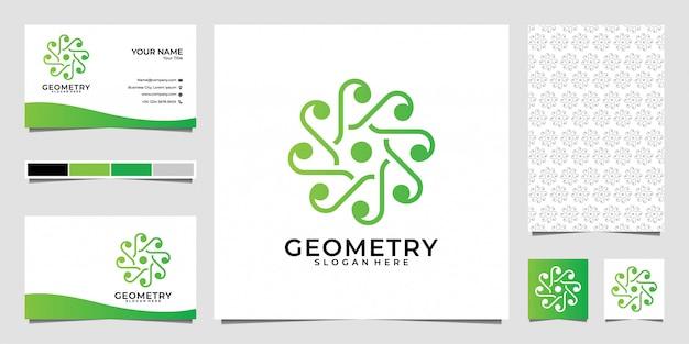 ジオメトリ自然緑のロゴのデザイン、名刺、パターン