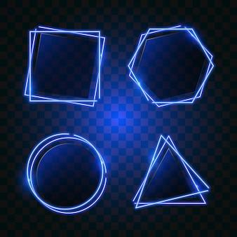 Geometry neon banner in blue light.