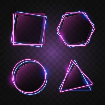 Geometry neon banner in blue & purple light.