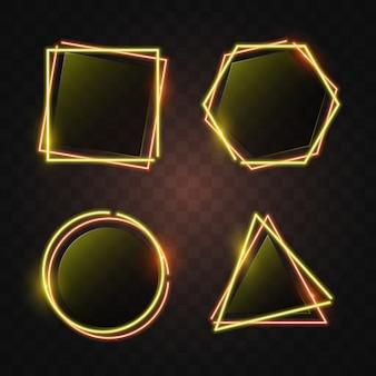 주황색과 노란 빛에 형상 네온 배너입니다.
