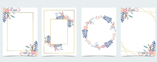 Geometry pink gold wedding invitation card with rose,leaf,wreath,feather and frame