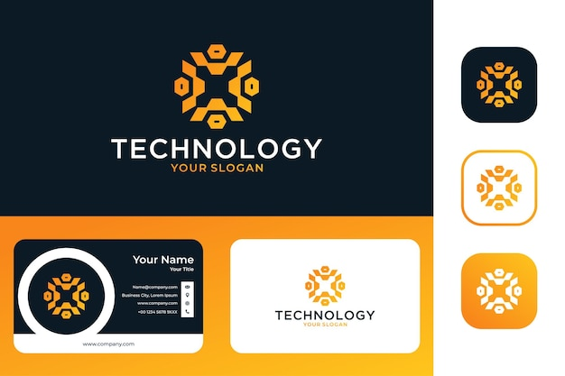 Дизайн логотипа технологии геометрии и визитной карточки