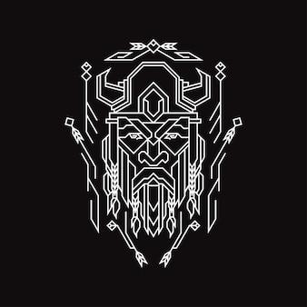 Геометрия голова викинга иллюстрация