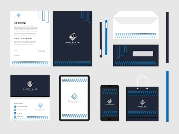 Geometry wave res estate modern flat business corporate identity stationery