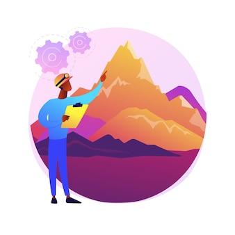 Иллюстрация абстрактной концепции геоморфологии. тип геоморфологии, геоморфический процесс, науки о земле, университетская дисциплина, аспирантура, курс геологии, прикладное обучение.