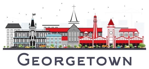 Горизонт города джорджтаун гайана с серыми зданиями. деловые поездки и концепция туризма с современной архитектурой. городской пейзаж джорджтауна с достопримечательностями.