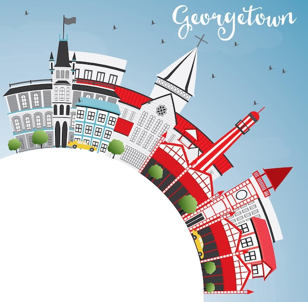 Georgetown skyline with gray buildings, blue sky and copy space. vector illustration. business travel and tourism concept with modern architecture. image for presentation banner placard and web site.