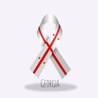 Georgia flag ribbon design