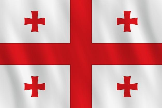 물결치는 효과가 있는 조지아 국기, 공식 비율.