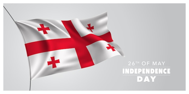 Баннер день независимости грузии. грузинский праздник 26 мая дизайн с развевающимся флагом Premium векторы