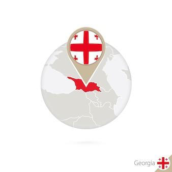 조지아 지도 및 원 안에 플래그입니다. 조지아, 조지아 플래그 핀의 지도입니다. 세계 스타일의 조지아 지도. 벡터 일러스트 레이 션.