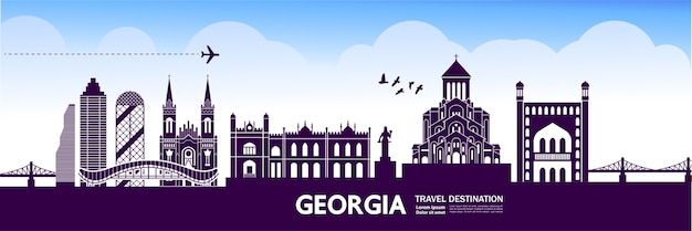 Georgia travel destination   illustration.