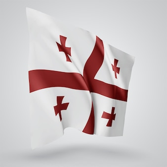 Georgia, vector flag with waves and bends waving in the wind on a white background.