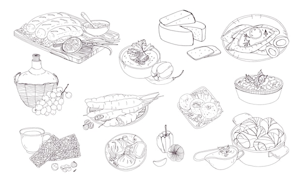 Georgian cuisine. different dishes. hand drawn black and white  illustration.