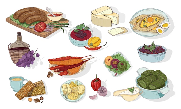 Georgian cuisine. different dishes. hand drawn colorful vector illustration.