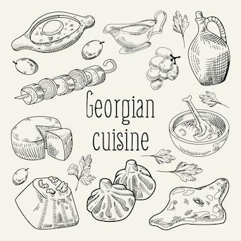 Грузинская еда рисованной иллюстрации