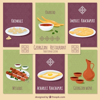 Georgian restaurant dishes with flat design