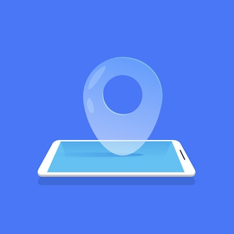Geotag location icon mobile navigator application blue background flat