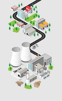 地熱エネルギー、等尺性グラフィックの地熱発電所 Premiumベクター