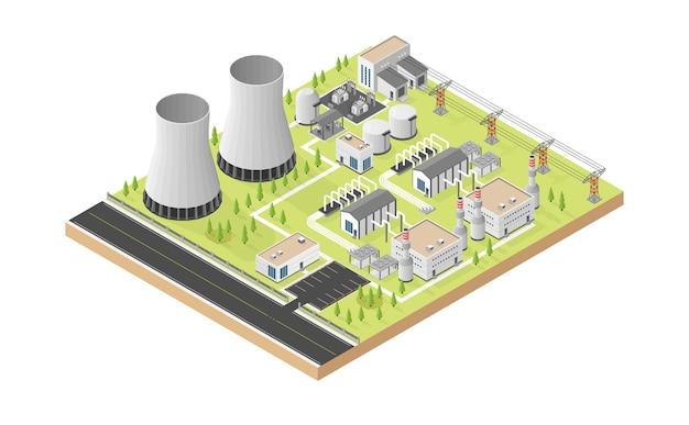 Геотермальная энергия, геотермальная электростанция в изометрической графике