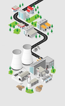Geothermal energy, geothermal  power plant in isometric graphic
