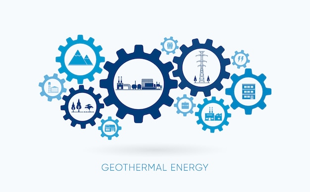 Geothermal energy, geothermal power plant with gear icon
