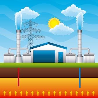 Geothermal power plant generator and storage underground