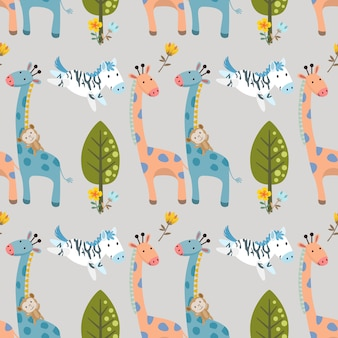 Geraffe zebra and monkey in forest seamless pattern.