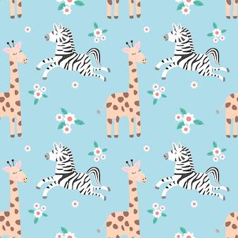 Geraffe zebra and monkey in forest seamless pattern.