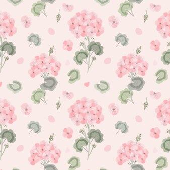 Geranium flower seamless pattern