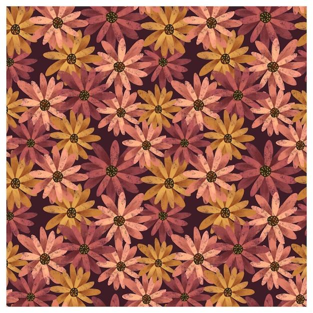 Gerbera daisies seamless pattern