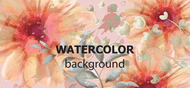 Gerbera floral banner watercolor