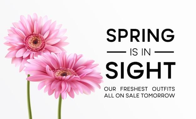 Gerbera 꽃 배경 및 봄 타이포그래피 디자인. 삽화
