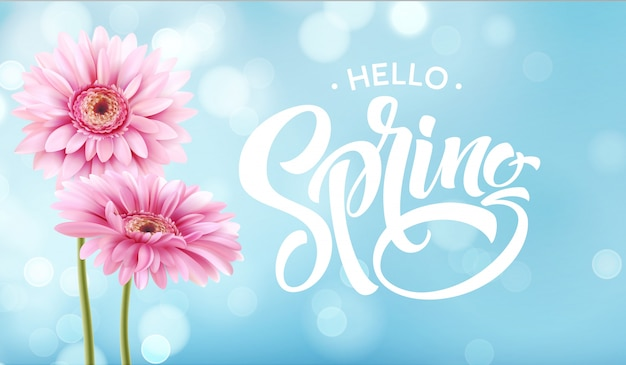 Gerbera flower and spring lettering.