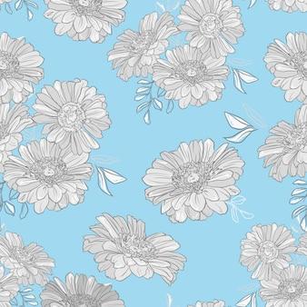 青色の背景パターンのガーベラ。インクの花の背景。シームレスな植物イラスト。 Premiumベクター