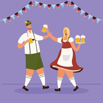 German couple wearing tyrolean suit drinking beers characters vector illustration design