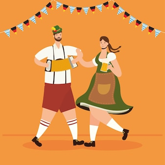 German couple wearing tyrolean suit drinking beers and playing accordion vector illustration design