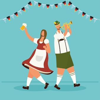German couple wearing tyrolean suit drinking beers and playing trumpet vector illustration design
