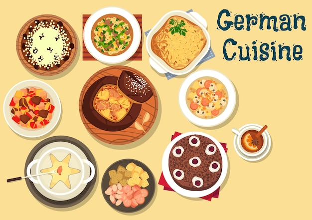 German cuisine beer and cheese fondue served with cabbage soup in rye bread, cabbage and sausage soup with mushroom, beef stew, christmas cake stollen, hamburg potato pie, chocolate cherry cake