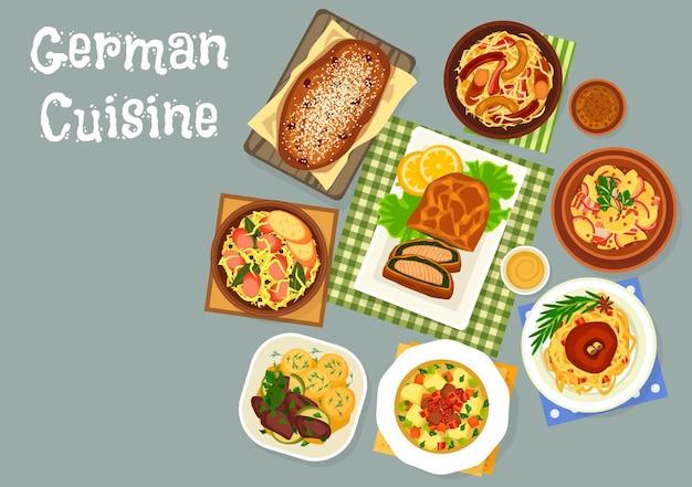 German cuisine dinner icon of cabbage and sauerkraut dishes illustration