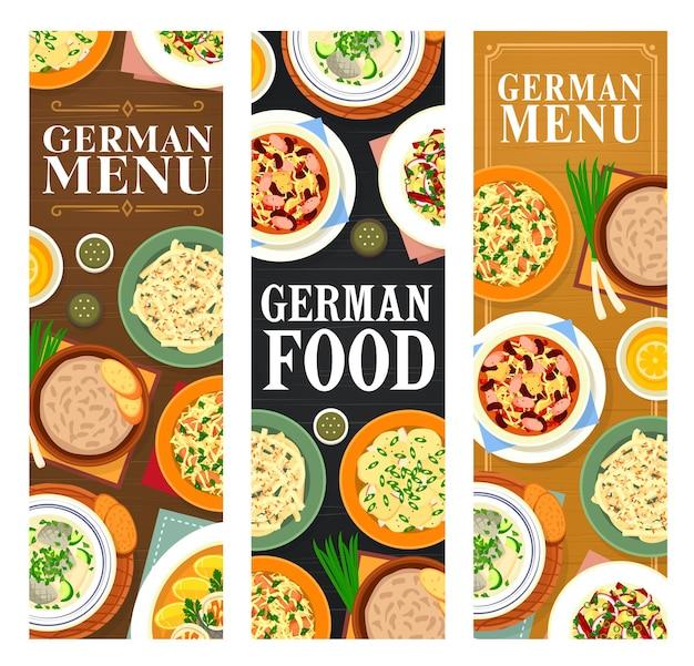Меню блюд немецкой кухни. набор баварских вертикальных баннеров
